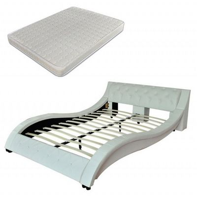 WHITE LABEL - Ensemble literie-WHITE LABEL-Lit cuir 180 x 200 cm blanc + matelas