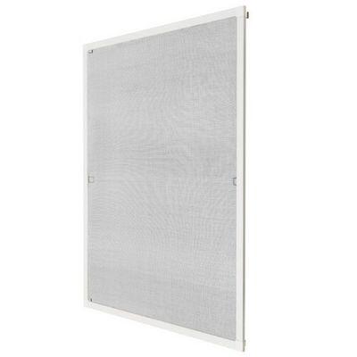 WHITE LABEL - Moustiquaire de fenêtre-WHITE LABEL-Moustiquaire pour fenêtre cadre fixe en aluminium 100x120 cm blanc