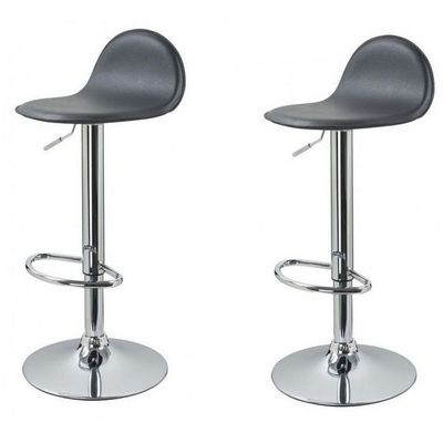 WHITE LABEL - Chaise haute de bar-WHITE LABEL-Lot de 2 Tabourets de bar gris