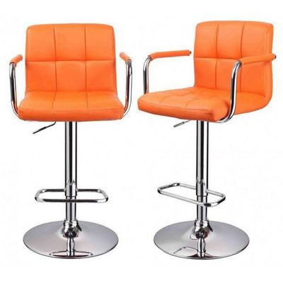 WHITE LABEL - Chaise haute de bar-WHITE LABEL-Lot de 2 Tabourets de bar orange