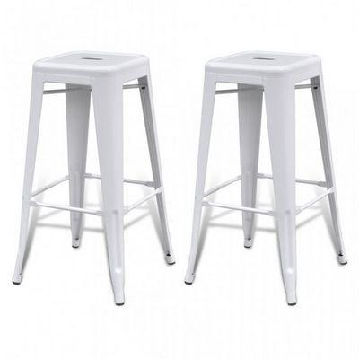 WHITE LABEL - Tabouret de bar-WHITE LABEL-Lot de 2 tabourets de bar factory blanc
