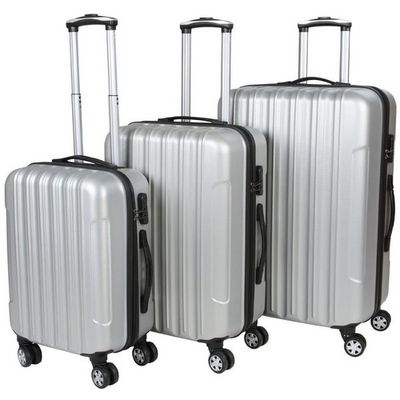 WHITE LABEL - Valise à roulettes-WHITE LABEL-Lot de 3 valises bagage rigide gris