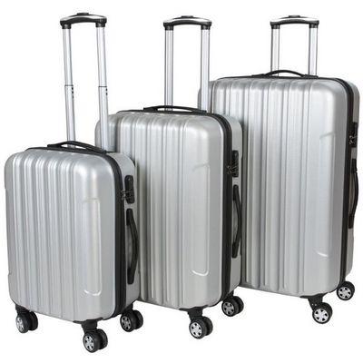 WHITE LABEL - Valise à roulettes-WHITE LABEL-Lot de 3 valises bagage rigide gris