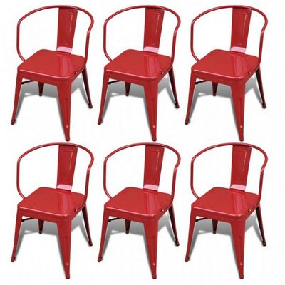 WHITE LABEL - Chaise-WHITE LABEL-6 chaises de salle à manger acier factory