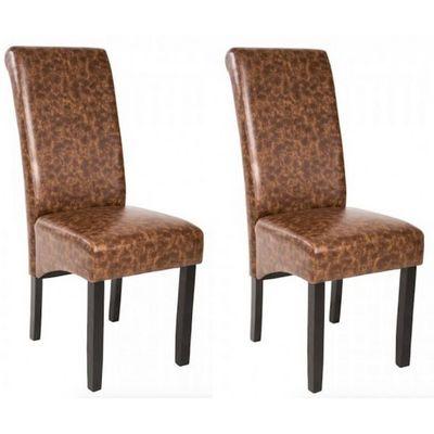 WHITE LABEL - Chaise-WHITE LABEL-2 chaises de salle à manger marron