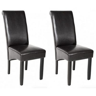 WHITE LABEL - Chaise-WHITE LABEL-2 chaises de salle à manger noir