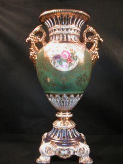 Demeure et Jardin - Vase décoratif-Demeure et Jardin-Grand vase vert et or