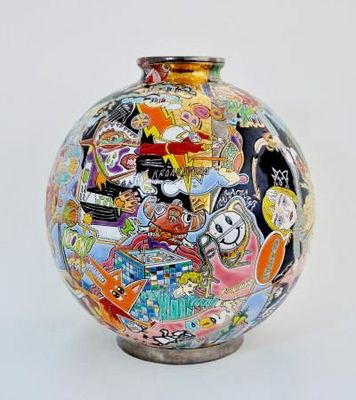 Emaux De Longwy - Vase d�coratif-Emaux De Longwy