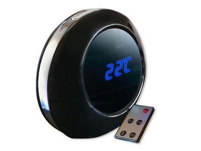 WHITE LABEL - Camera de surveillance-WHITE LABEL-Réveil rond espion télécommandé ou détection de mo