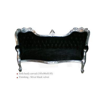 DECO PRIVE - Canapé 3 places-DECO PRIVE-Canapé baroque tissu velours noir et bois argenté