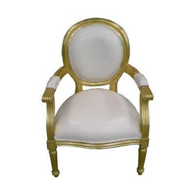 DECO PRIVE - Fauteuil-DECO PRIVE-Fauteuil style Louis XVI cabriolet doré et imitati