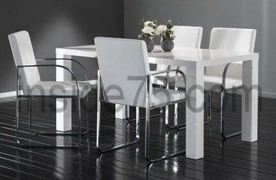 WHITE LABEL - Table basse relevable-WHITE LABEL-Table de Repas GLOSSY Laquée Blanche