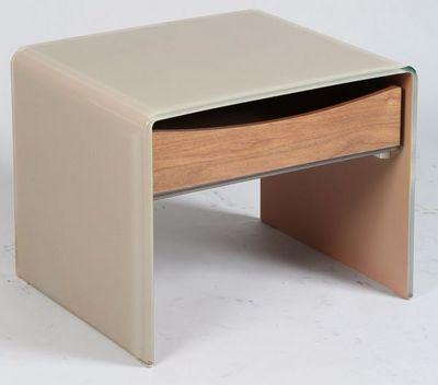 WHITE LABEL - Table de chevet-WHITE LABEL-Bout de canaopé Chevet LOFT en verre taupe 1 tiroi