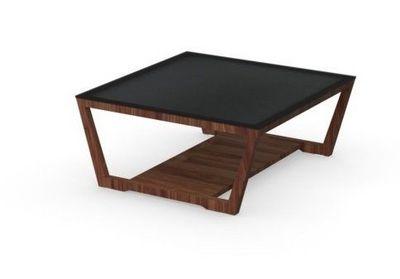 Calligaris - Table basse carrée-Calligaris-Table basse ELEMENT de CALLIGARIS noyer avec plate