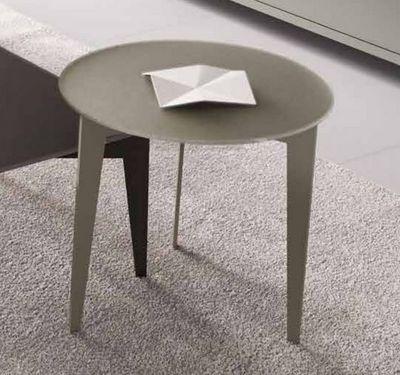 WHITE LABEL - Table basse ronde-WHITE LABEL-Table basse design DALLAS ronde verre taupe