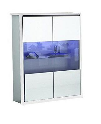 WHITE LABEL - Buffet haut-WHITE LABEL-Vitrine MITO blanche avec 2 portes