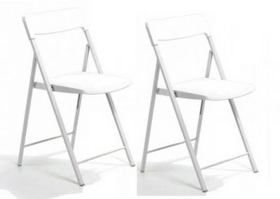 WHITE LABEL - Chaise pliante-WHITE LABEL-Lot de 2 chaises pliantes KULLY blanche
