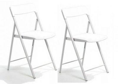 WHITE LABEL - Chaise pliante-WHITE LABEL-Lot de 2 chaises pliantes KULLY blanche