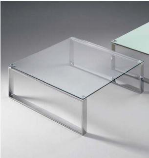 WHITE LABEL - Table basse carrée-WHITE LABEL-Table basse ZOE design en verre carré