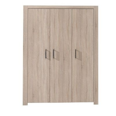 WHITE LABEL - Armoire � portes battantes-WHITE LABEL-Armoire penderie ALINE ch�ne 3 portes