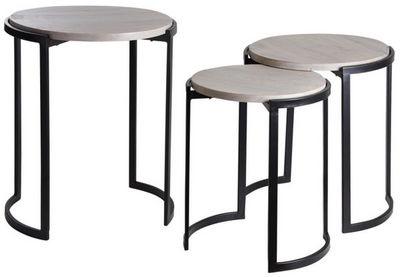 Aubry-Gaspard - Tables gigognes-Aubry-Gaspard-Sellettes rondes en métal et manguier (Lot de 3)