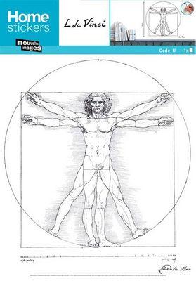 Nouvelles Images - Sticker-Nouvelles Images-Sticker mural l'homme de Vitruve type croquis Léo