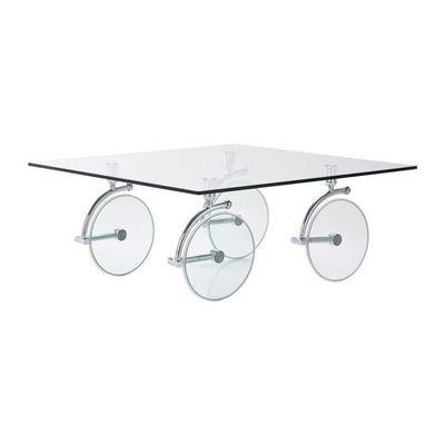 Kare Design - Table basse carrée-Kare Design-Table basse en verre Wheels 100x100 cm