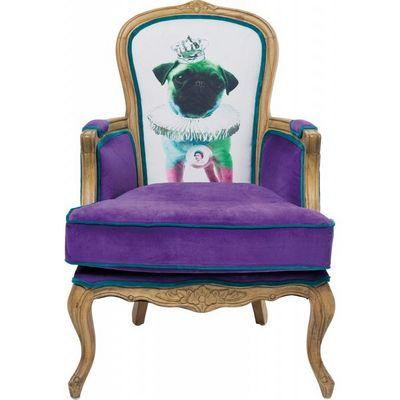 Kare Design - Fauteuil-Kare Design-Fauteuil Baroque Villa Grandfather Mops Violet