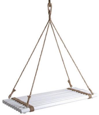 Aubry-Gaspard - Support de jardiniere-Aubry-Gaspard-Plateau suspendu en bois teinté blanc