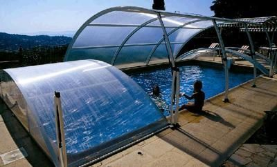 Abrideal - Abri de piscine bas amovible-Abrideal-PRIMO version Romane