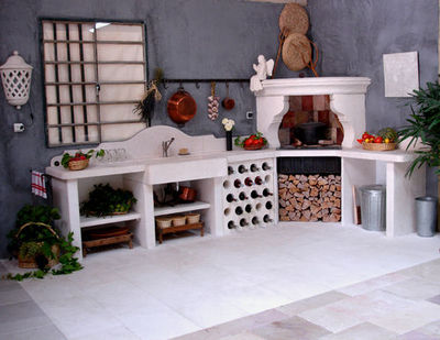 Atelier Alain Edouard Bidal - Cuisine d'extérieur-Atelier Alain Edouard Bidal-Cuisine en pierre de Lens sur mesure