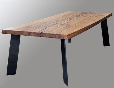 Lawrens - Table de repas rectangulaire-Lawrens-Tabler en chêne massit et piètement métal