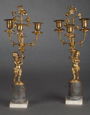 Bauermeister Antiquités - Expertise - Chandelier-Bauermeister Antiquités - Expertise-Paire de candélabres à trois lumières