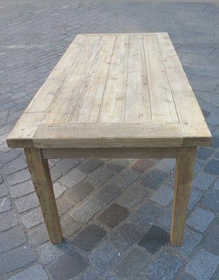 Lawrens - Table de cuisine-Lawrens-Table en parquet ancien poutre