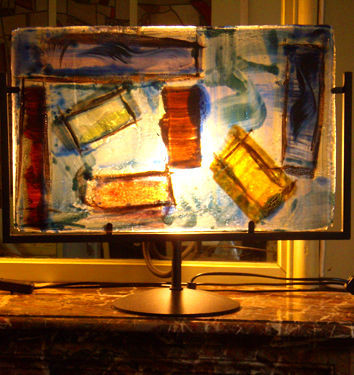 SOPHIE BERECZ - Lampe à poser-SOPHIE BERECZ-Vitrail Fusing