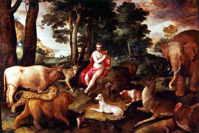 Virginie Pitchal - Huile sur toile et huile sur panneau-Virginie Pitchal-Orphée charmant les animaux