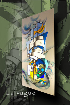 Atelier 1..2..3 vitrail - Vitrail-Atelier 1..2..3 vitrail-La Vague