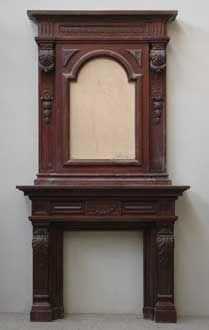 GALERIE MARC MAISON - Manteau de cheminée-GALERIE MARC MAISON-Antique Mahogany Mantel piece with overmantel