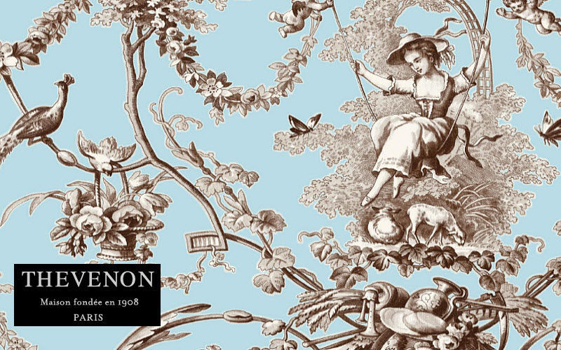 THEVENON Toile de Jouy print material Furnishing fabrics Curtains Fabrics Trimmings Bedroom | Cottage