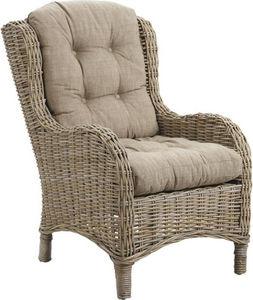 Aubry-Gaspard - fauteuil connivence en poelet gris avec coussins - Garden Armchair
