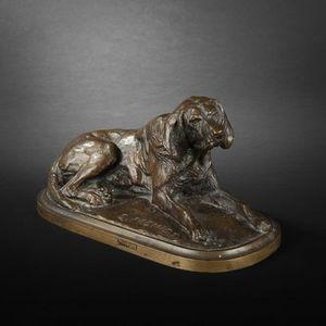 Expertissim - d'après emmanuel frémiet. chien couché en bronze. - Animal Sculpture
