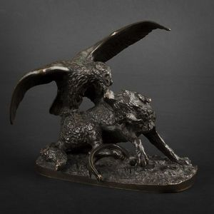 Expertissim - loup pris au piège en bronze - Animal Sculpture