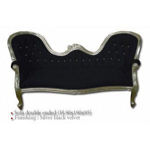 DECO PRIVE - canape baroque en bois argente et velours noir et - 2 Seater Sofa