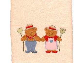 SIRETEX - SENSEI - drap de douche brodé ours fermier - Bath Glove