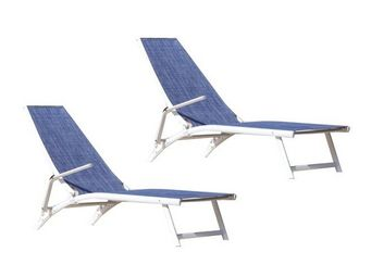 PROLOISIRS - bain de soleil linéa en aluminium et textilène jea - Garden Deck Chair