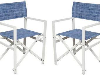 PROLOISIRS - fauteuil régisseur en aluminium blanc sand et text - Director's Chair