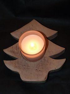 DECO CHALET MONTAGNE - bougeoir bois artisanal - Candlestick