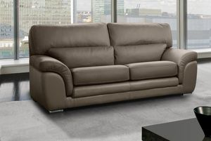 WHITE LABEL - cloe canapé 3 places cuir vachette taupe - 3 Seater Sofa