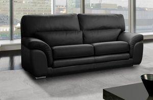 WHITE LABEL - cloe canapé 3 places cuir vachette noir - 3 Seater Sofa