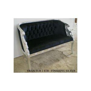 DECO PRIVE - banquette baroque tissu velours noir et bois argen - 2 Seater Sofa